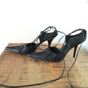 IXOS Black Ankle Tie Pumps 9